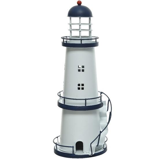 Donkerblauwe/witte vuurtoren decoratie metaal 31 cm strand/zee beelden