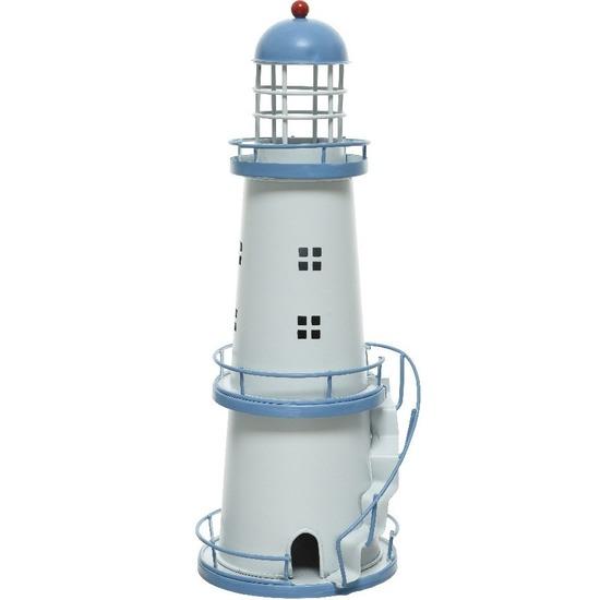 Lichtblauwe/witte vuurtoren decoratie metaal 31 cm strand/zee beelden