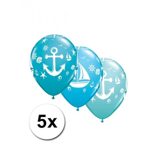 Marine feest ballonnen 5 stuks