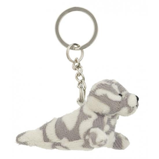 Pluche gevlekte zeehond knuffel sleutelhanger 8,5 cm