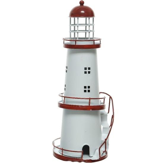 Rode/witte vuurtoren decoratie metaal 31 cm strand/zee beelden