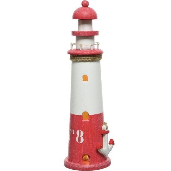 Rode/witte vuurtoren decoratie metaal 36 cm strand/zee lampen/beelden op batterij