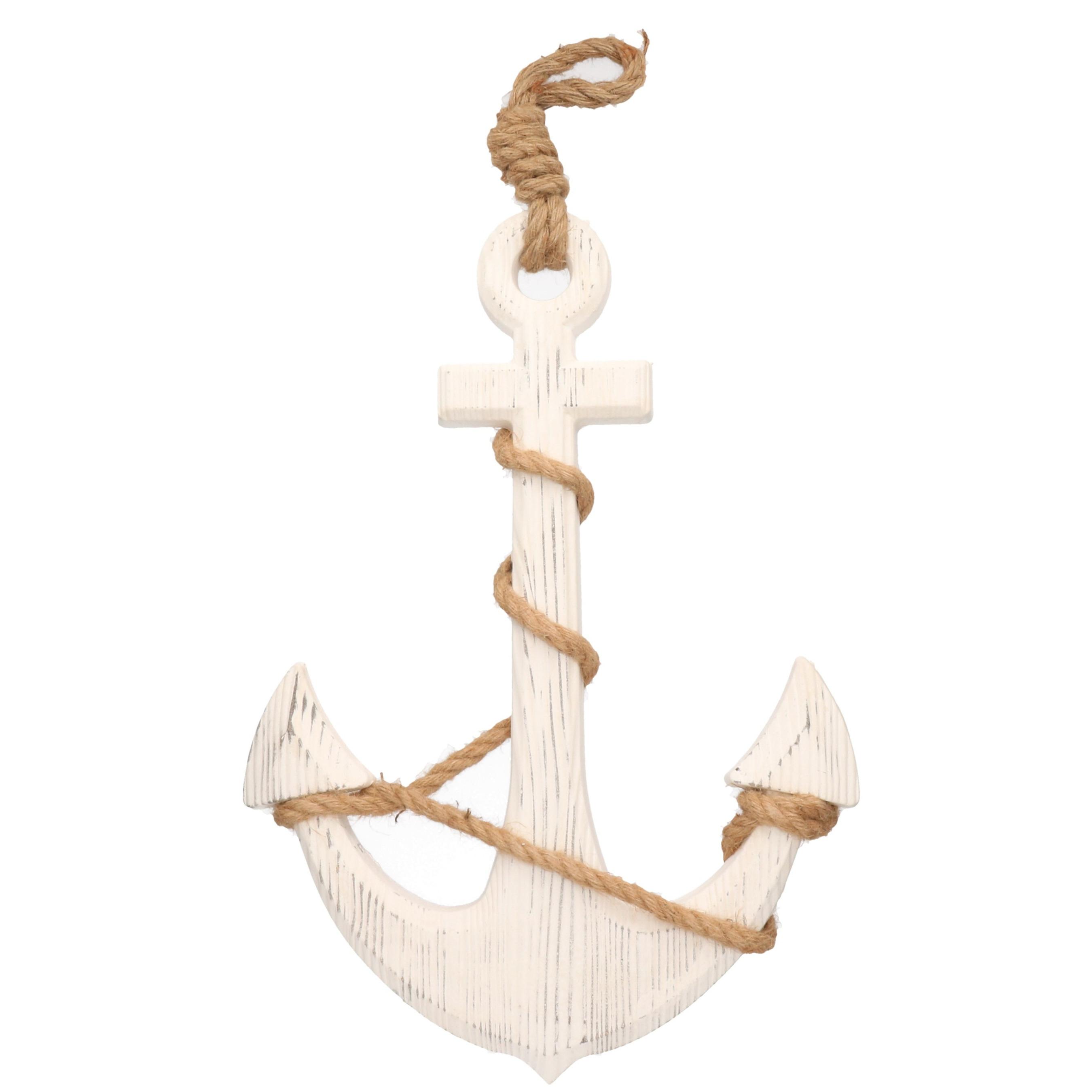Witte anker decoratie hout 43 x 80 cm strand/zee beelden