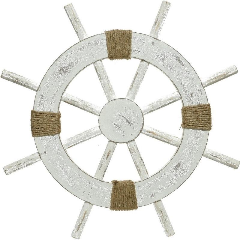 Witte stuurwiel decoratie hout 50 cm strand/zee beelden